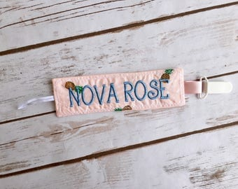 Personalized Pacifier Clip, Monogrammed Binky Holder, Baby Girl Pacifier Holder