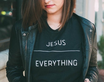 JESUS OVER EVERYTHING Christian Ladies T-shirt