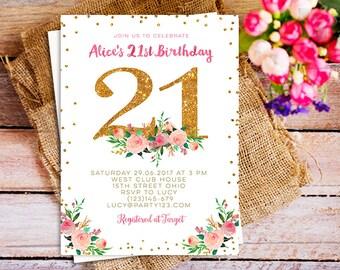 Rose Gold St Birthday Printable Invitation Rose Gold Party - 21st birthday invitations gold coast