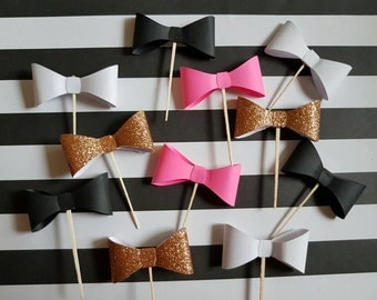 Bow cupcake toppers, black pink and gold bow cupcake toppers, dozen cupcake toppers, first birthday, bridal shower, baby shower