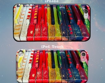 Painted Piano Keys Colorful Keyboard Pianist Music Musician Rainbow Paint Rubber Case for iPhone 7 6s 6 Plus iPhone SE 5s 5 5c