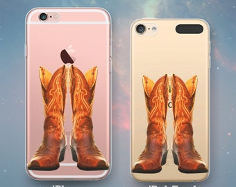 Cowboy Boots Cowgirl Boot Western Country Rancher Farmer Rodeo Fun Cool Clear Rubber Case for iPhone 7 6s 6 Plus SE 5s 5 5c iPod Touch