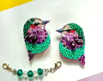 Birds of paradise-handmade brooch from stones and beads