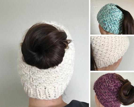 Knitting Pattern, Messy Bun Hat Knit Pattern, Knit Ponytail Hat Pattern, Runn...