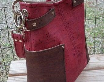 Cork Handbag, Bucket Bag, Cork Shoulder Bag, Cork Purse, Wine Purse, Red Handbag
