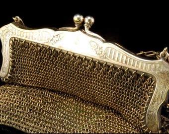 Antique Victorian German Silver Engraved Purse Handbag