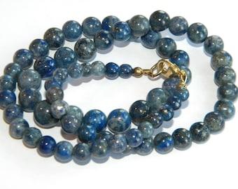 vintage necklace Lapis Lazuli natural gemstones gold speckles ~ inA2646