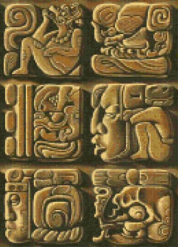 Mayan stone carvings cross stitch pattern pdf easy chart