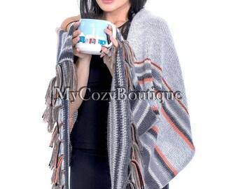 Knit shawl   Wool blanket scarf - gray wool shawl - knitted shawl wrap - gift for women -  oversize shawl wrap - boho shawl- gift for her