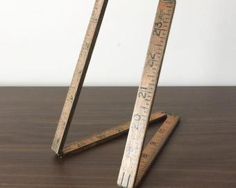 Vintage Wooden 24 Inch Rule. Folding Wood and Brass 2ft 'Yardstick' Ruler.