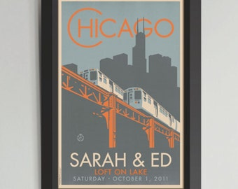 Chicago EL Fountain Personalized Framed Wedding Art (Medium)
