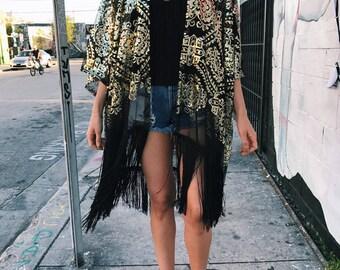 Bohemian Coverup, Kimono Cardigan, Sequin Coverup with Fringe
