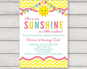 You Are My Sunshine Invitation - Printable First Birthday Party Invitation - Instant Download - Editable Text