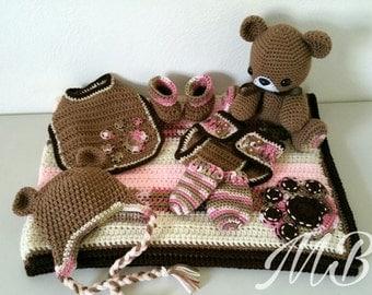 Nuggle Teddy Deluxe Blanket Set (Pink)