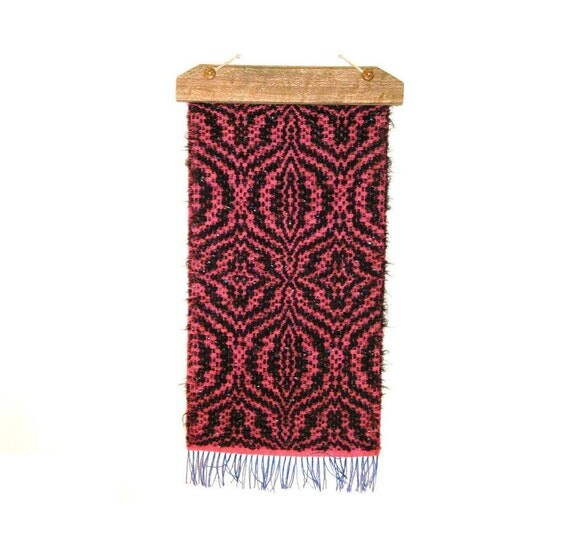 handwoven wall hanging hot pink and black wall decor of