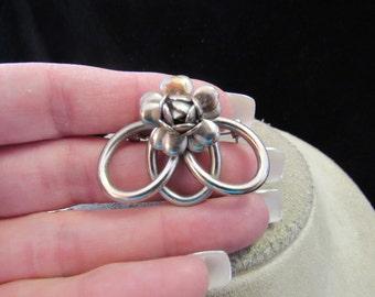 Vintage 3D Silvertone Floral Pin