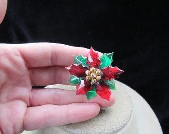 Vintage Christmas Floral Pin