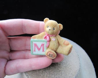 Vintage Ceramic Teddy Bear With Letter M Pin