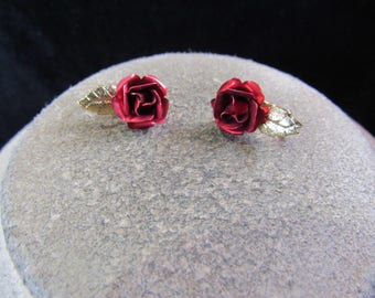 Vintage Pair Of Red Enameled Goldtone Leaf Rose Clip Earrings