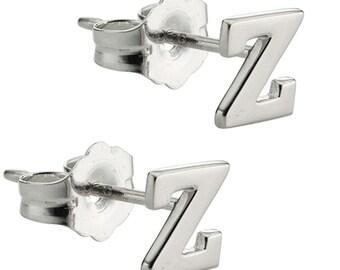 """ALPHABET Initial """"Z""""  Stud Earrings Sterling Silver 925 Classy Design Cute size 5.0mm"""