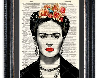 Frida Kahlo, Dictionary Art Print, Frida Kahlo Print, Frida Kahlo Decor, Frida Kahlo Poster