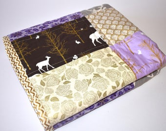 SHIPS TOMORROW! SALE - Golden Forest in Purple Baby Quilt, modern, antlers,deer, fox, forest, girl bedding, buck, stag, nursery,