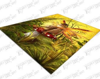 Print on Canvas The Magical Fall fairy sitting on red toadstool X1794