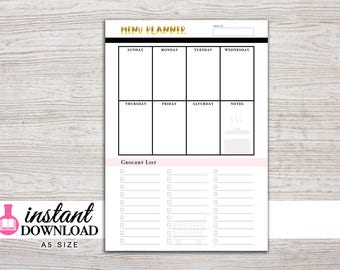 A5 Planner Printable - Menu Planner - Weekly Menu - Grocery List - Filfoax A5 - Kikki K Large - Design: Goldie