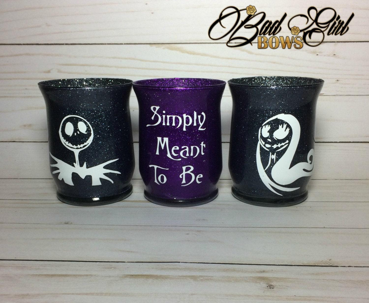 Set Of Jack And Sally Vinyl Glitter Makeup Brush Holder Jar - Vinyl cup brush