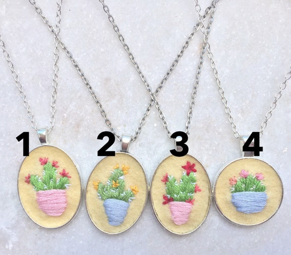 Hand embroidered floral or cactus jewellery. Feminine Gift for Her. Floral jewelry. Flower cactus necklace. Flower jewelry. Silver Pendant.