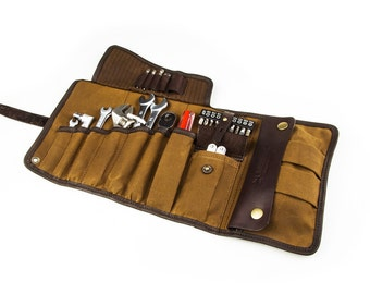 SALE 10%! Universal Tool Roll Mens Tool Roll Camel waxed canvas Tool bag motorcycle Tool roll barber Tool roll travel Bag twisting Mens gift