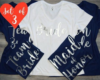 3 Bridesmaid V-Neck Tee, Bride and Bridesmaid Set, Bride T-Shirt, Bride and Maid of Honor Shirts, Bachelorette Shirt, Bachelorette T-Shirts