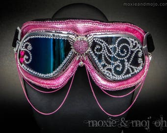 """Burning Man, steampunk Goggles: """"Diamond Life"""" ~ Anti-Dust, UV protection, steampunk aviator style - perfect for the playa!"""