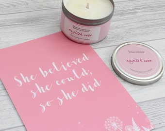 Mothers Day Pink Candle Gift Set – Art Print and Candle Gift Set