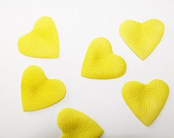 Silk Heart Shaped Petals, 400 Yellow petals