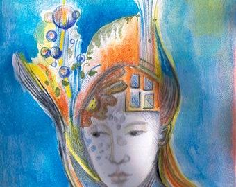 "Goddess series ""Blue Goddess""  Art Print of original watercolor"