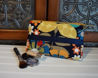 Large Gusset Make Up Bag - Navy, Gold, Green Bright Flowers Cosmetic Bag with Navy Ribbon Trim,  Large Zipper Bag, Holds alot of make up