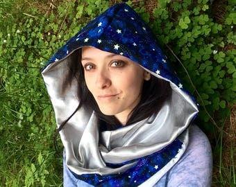 galactic Reversible hooded infinity scarf/ hood scarf/ party hood/ star hood/ metallic silver and GLOW in THE DARK stars/ infinity scarf