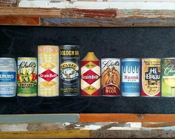 Beer Can Collection, framed giclee Print