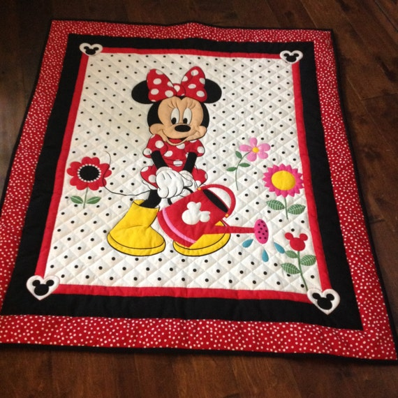 Baby Gift Quilt : Minnie mouse baby quilt shower gift hand quilted