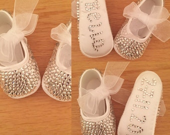 Baby Fully Crystalised Christening Shoes with customised name and/or date (wedding bling occasion)