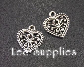 20pcs Antique Silver Filigree Heart Charms Pendant A1949