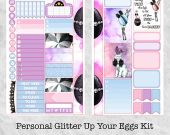 Glitter Up Your Eggs Personal Sized Kit || Matte and Vinyl Planner Stickers