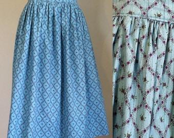 1950s Skirt - Vintage 50s Blue Floral Cotton Skirt