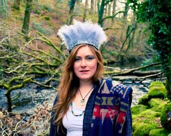 Handmade Feather Headdress,Grey/Silver Boho Gypsy Crown, Indian Headband