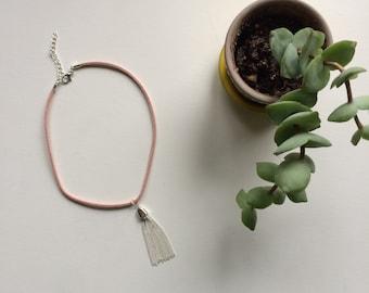 Pink suede tassel necklace