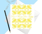 Don't Worry Bee Happy Card - fun - quirky - card for birthdays - sympathy card - blank - bee print - animal print - lino print - art card