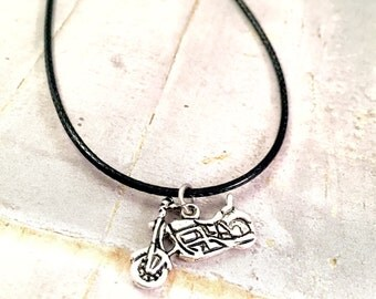 Unisex necklace, Motorcycle black cord Necklace, mens necklace, Motorcycle necklace, Harley Lover, Live to Ride, Motorbike