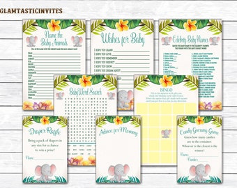 Elephant Baby Shower Game Package, Baby Shower Game Package, Safari Baby Shower Game Package, Safari Baby Shower Game Package, Elephant