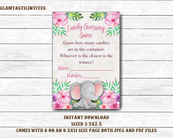 Candy Guessing Game, Elephant Candy Guessing Game, Jungle Baby Shower, Safari Baby Shower, Safari Candy Game, Girl Baby Shower,Girl Elephant